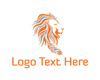 Feather - Tribal Lion logo design