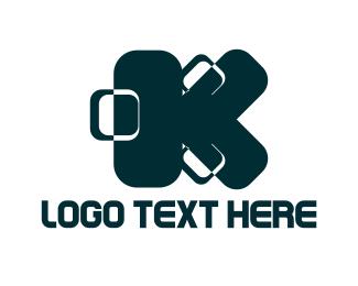 Baggage - Blue Letter K logo design