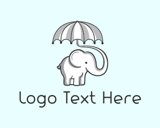 Baby - Umbrella & Elephant logo design