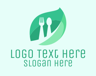 Cooking - Leaf & Cutlery logo design