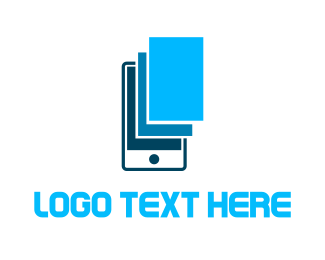 Phone Repair - Blue Phone Screen logo design