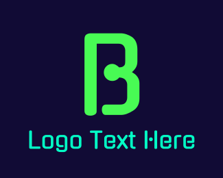 """Green Neon Letter B"" by BrandCrowd"