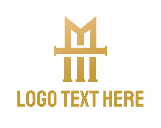 Consultancy - Gold Vintage M logo design