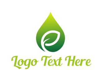Olive - Green Leaf Drop logo design