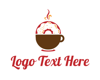 Donut - Coffee & Donut logo design