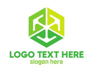Dice - Green Cube Tech logo design
