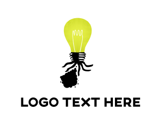 Spotlight - Black Ink Bulb logo design