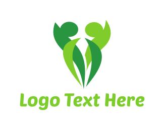 Organic Food - Human Leaves logo design