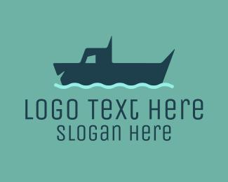 Lake - Blue Dog Swimming logo design