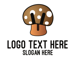 Black And Brown - Brown Mushroom  logo design