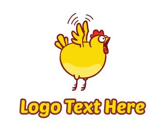 Rooster - Chicken Fly Jump logo design
