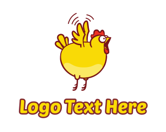 Flying - Chicken Fly Jump logo design
