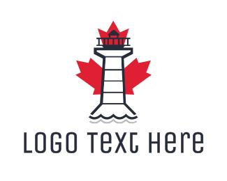 Maple Leaf - Canadian Lighthouse logo design
