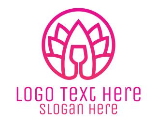 Relax - Pink Wine Glass Lotus logo design