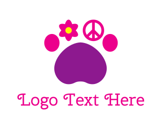 60s - Hippie Paw logo design
