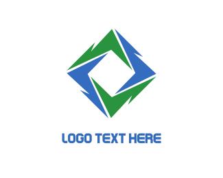 Volt - Green Blue Vortex logo design