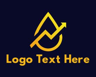 Graph - Yellow Arrow Drop logo design