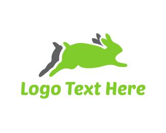 Preschool - Running Green Rabbits logo design