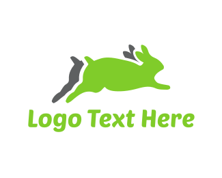 Child - Running Green Rabbits logo design