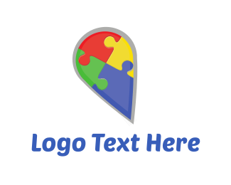 Piece - Puzzle Pin logo design