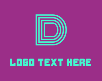 Broadway - Neon Blue Letter D logo design