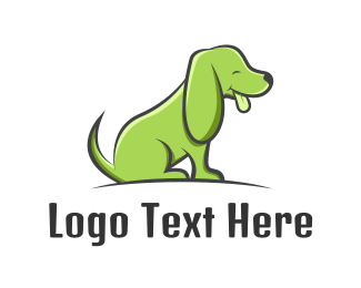 Cartoon - Green Cartoon Dog logo design