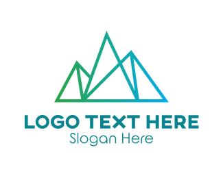 Polygon - Thin Gradient Mountain Line logo design