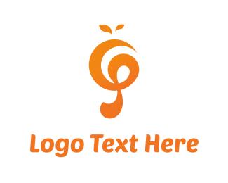 Musical Note - Orange Music logo design