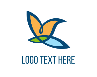 Tropical - Bird Flower logo design