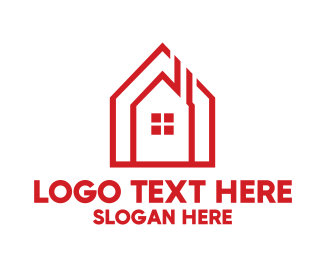 Rent - Chimney House Outline logo design