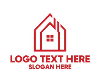 Airbnb - Chimney House Outline logo design
