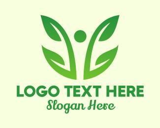 Orchid - Two Leaf Vine Plant  logo design