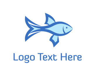 Fishery - Light Blue Fish  logo design