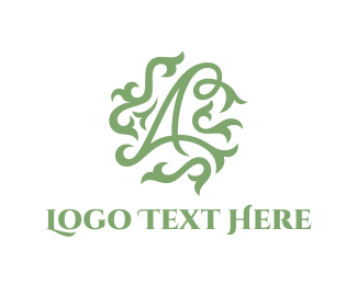 Text - Floral Letter A logo design