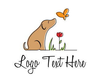 Peaceful - Dog and Nature logo design