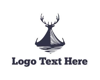 Antlers - Elk Canoe logo design