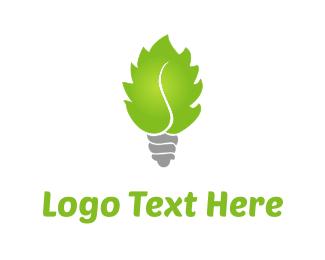 Lightbulb - Leaf Bulb logo design
