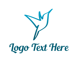 Colibri - Blue Hummingbird logo design