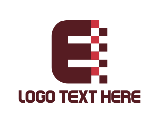 Bitmap - Digital Letter E logo design