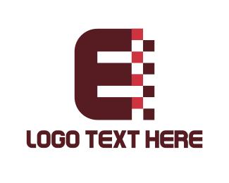 Bitmap - Digital Letter E logo design