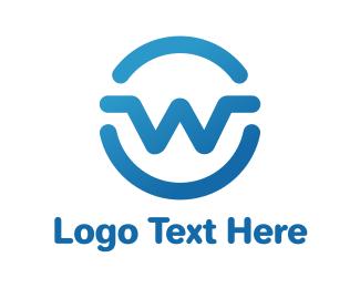 Stroke - Gradient W Stroke logo design