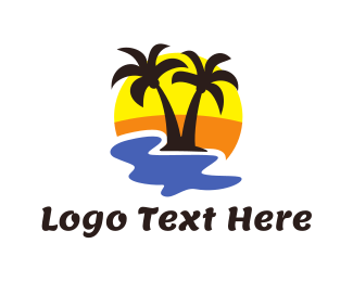 Destination - Summer Black Coconut Tree logo design