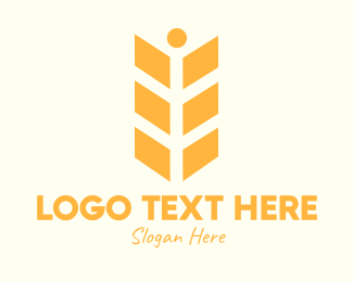 Agribusiness - Orange Wheat Person logo design