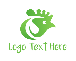 Hen - Green Chicken logo design
