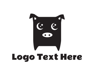 Piglet - Cute Black Pig logo design