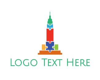 Puzzle - Colorful Puzzle Tower logo design