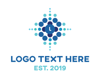 Molecule - Blue Dot Explosion logo design