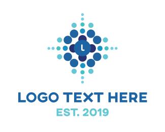 Biotech - Blue Dot Explosion logo design