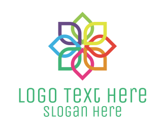 Blossom - Rainbow Flower logo design