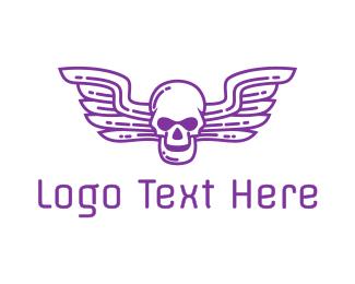 Aeronautics - Skull Wing Outline logo design